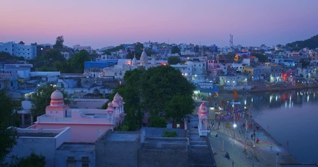 Fotomurales - View of famous indian hinduism pilgrimage town sacred holy hindu religious city Pushkar with Pushkar ghats. Rajasthan, India. Horizontal pan