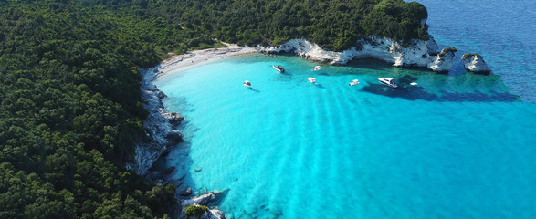 Printed kitchen splashbacks Zanzibar Aerial drone ultra wide photo of paradise sandy beaches in popular summer destination - island of Antipaxos with turquoise clear sea, Ionian, Greece