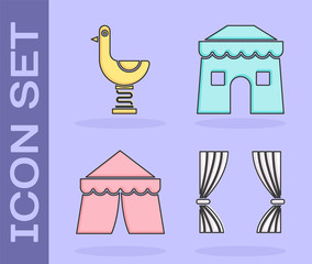 Set Curtain, Riding kid duck, Circus tent and Circus tent icon. Vector