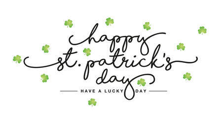 Happy St Patricks Day handwritten lettering tipography text green clovers white greeting card Wall mural