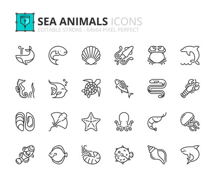 Simple set of outline icons about sea animals. Sea world.