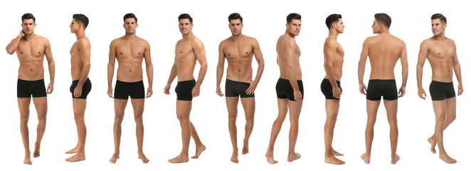 Collage of man in black underwear on white background