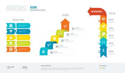 arrows style infogaphics design from asian concept. infographic vector illustration