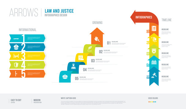 arrows style infogaphics design from law and justice concept. infographic vector illustration