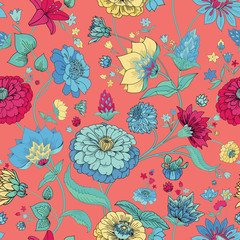 Floral seamless original pattern in vintage paisley style