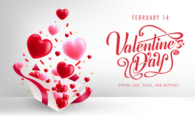 Valentine's Day Simple Banner Background Greeting Card Lovely Design with Floating 3D Hearts and Confetti from Gift Box. Vector Illustration