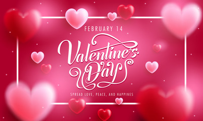 Lovely Valentine's Day Banner with Typography Greeting Message in Red Background with White Frame and Floating 3D Realistic Hearts. Vector Illustration
