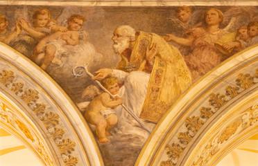 ACIREALE, ITALY - APRIL 11, 2018: The fresco of St. Nicholas in Duomo by Giuseppe Sciuti (1907).