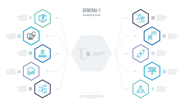general-1 concept business infographic design with 10 hexagon options. outline icons such as business networking, business performance, chain, chat bot, chemical lab, cloud service