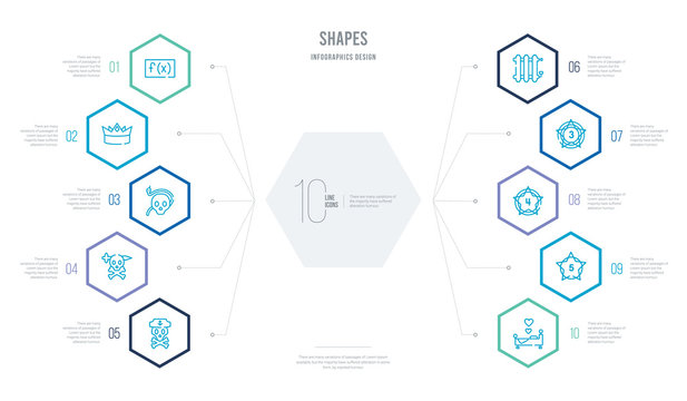 shapes concept business infographic design with 10 hexagon options. outline icons such as wedding night, star with number five, star with number four, star number three, radiators, skull and dagger