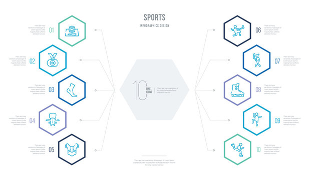 sports concept business infographic design with 10 hexagon options. outline icons such as skating, excercise, ice skates, batter, home run, shin guards