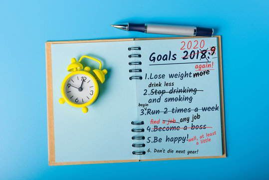 Goals 2020, To do list, plans on the desktop. Achievements and Failures New Year concept - 2020