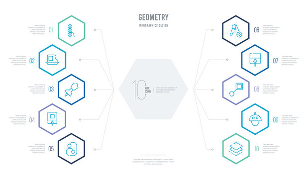 geometry concept business infographic design with 10 hexagon options. outline icons such as layer, base, lengthen, save, text, insert