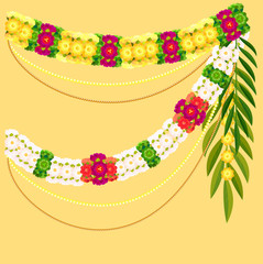 Flower garland and palm leaf. Indian mala traditional ornate decoration