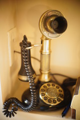 old telephone on table