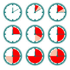 Green clock vector icons with red minutes charts.