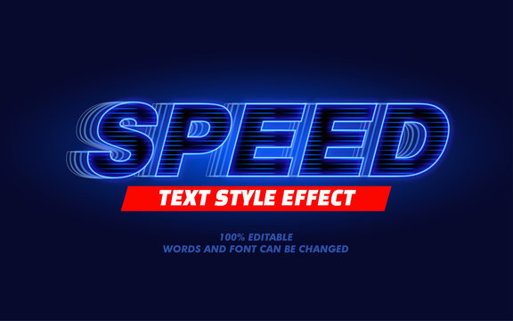 Blue Light Speed Modern Bold Text Style Effect for Movie Headline