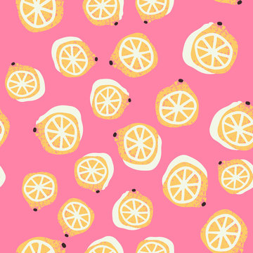 Hand-drawn lemons seamless pattern in vector