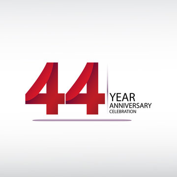 44 years anniversary celebration logotype. anniversary logo with red, vector design for celebration, invitation card, and greeting card