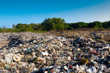 Plastic pollution in a landfill garbage dump