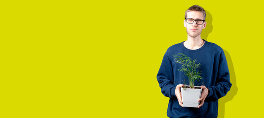 person holding the home plant in the pot, care about environment concept, copy space