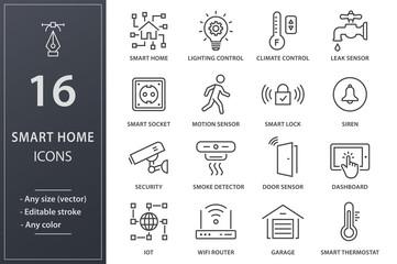 Obraz Smart home line icons set. Black vector illustration. Editable stroke. - fototapety do salonu
