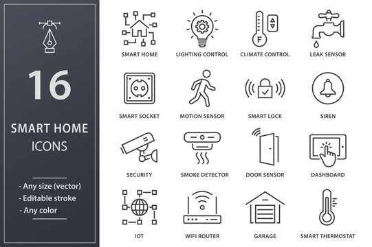 Smart home line icons set. Black vector illustration. Editable stroke.