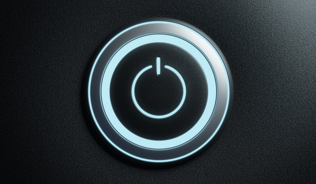 Power start button or ignition launching button with blue light