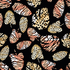 Wall Mural - Tropical leaves painted tiger leopard skin seamless black background