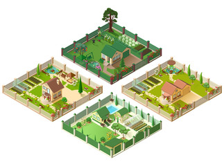 Country house and large garden. Set of 3d cottage isometric illustration