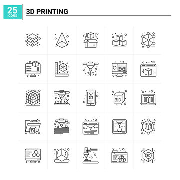 25 3d Printing icon set. vector background