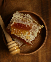 natural organic honeycombs on a plate