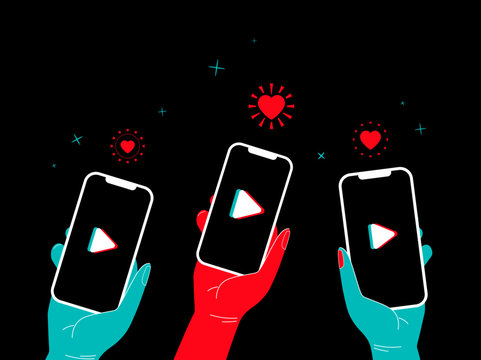 Tik tok video concept. People hand holding phone like and stars around and logo on the screen. Marketing in social media banner with glitch. Isolated vector illustration