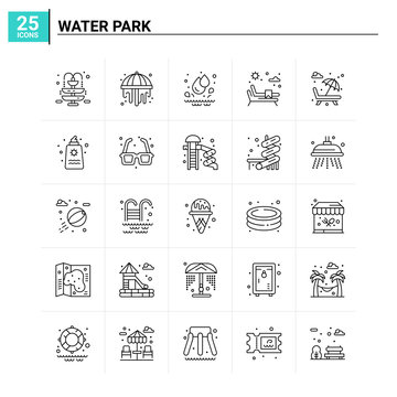 25 Water Park icon set. vector background