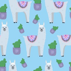 Printed kitchen splashbacks Illustrations Cute alpaca and llama with cactus seamless pattern for textile, fabric, paper, nursery.