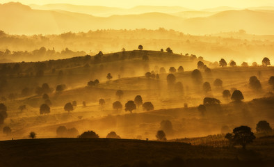 Printed roller blinds Orange Amazing mountain landscape with sunrise, natural outdoor travel background. Beauty world.