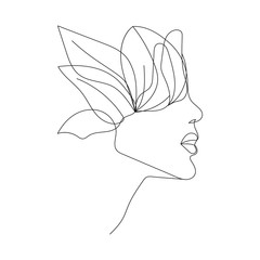 Woman One Line Abstract Drawing. Minimalist Woman Portrait. Black And White, Sketch Art. Female Poster Design. Vector EPS 10.