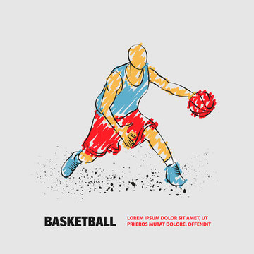 Basketball player with ball. Vector outline of Basketball player with scribble doodles style.