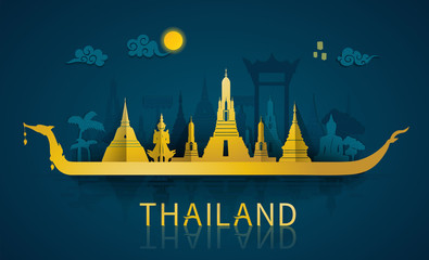 Thailand travel illustrator: famous landmarks and tourist attraction of Thailand with paper cut style