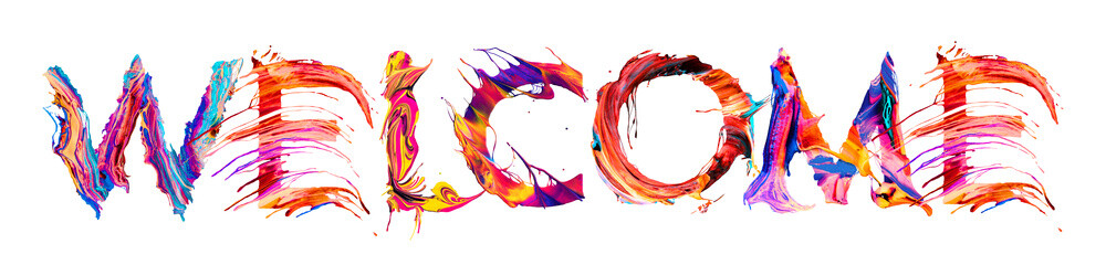 Welcome banner with colorful brush strokes