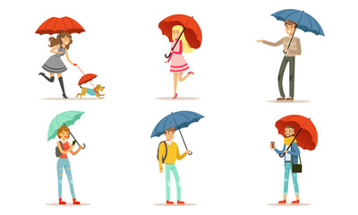 Collection of People Walking Under Colorful Umbrellas, Young Men and Women with Umbrella Vector Illustration