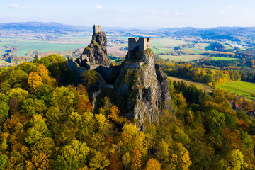 Above view of medieval castle Trosky. Czech Republic