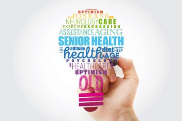 Senior health light bulb word cloud collage, social concept background