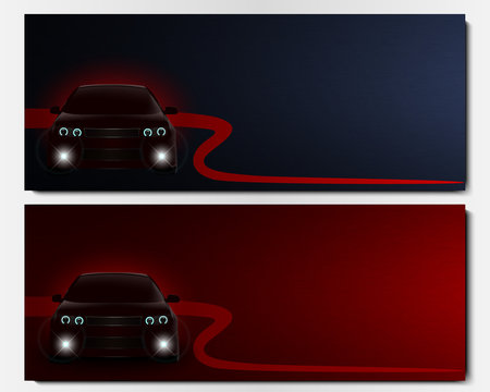 Set of vector banners with frontal view car.