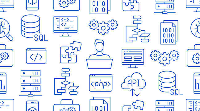 Software development seamless pattern with flat line icons. Programming language background, application, api, computer program develop vector illustration. Outline wallpaper for website design