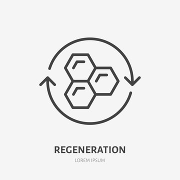 Cell regeneration line icon, vector pictogram of collagen repair. Skincare illustration, sign for ceam, cosmetics packaging