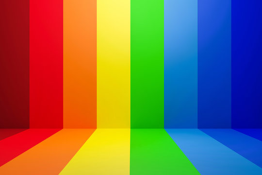 Abstract rainbow gradient multi colors of scene background with perspective room. Summer multi colors pattern backdrops. 3D rendering.
