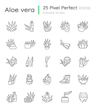 Aloe vera pixel perfect linear icons set. Natural cosmetic and dermatology. Medicinal herbs. Customizable thin line contour symbols. Isolated vector outline illustrations. Editable stroke