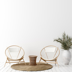 Foto op Canvas Boho Stijl Wall mock up in white simple interior with wooden furniture, Scandi-Boho style, 3d render