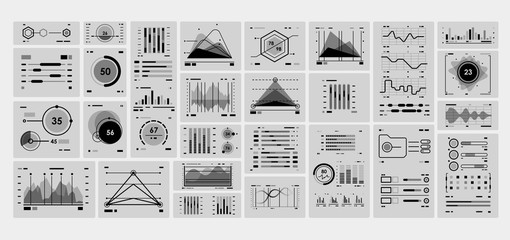 Network management data dashboard with black and white elements. Technology graphics and diagram with options and workflow charts. Web Application Data Infographic UI UX.